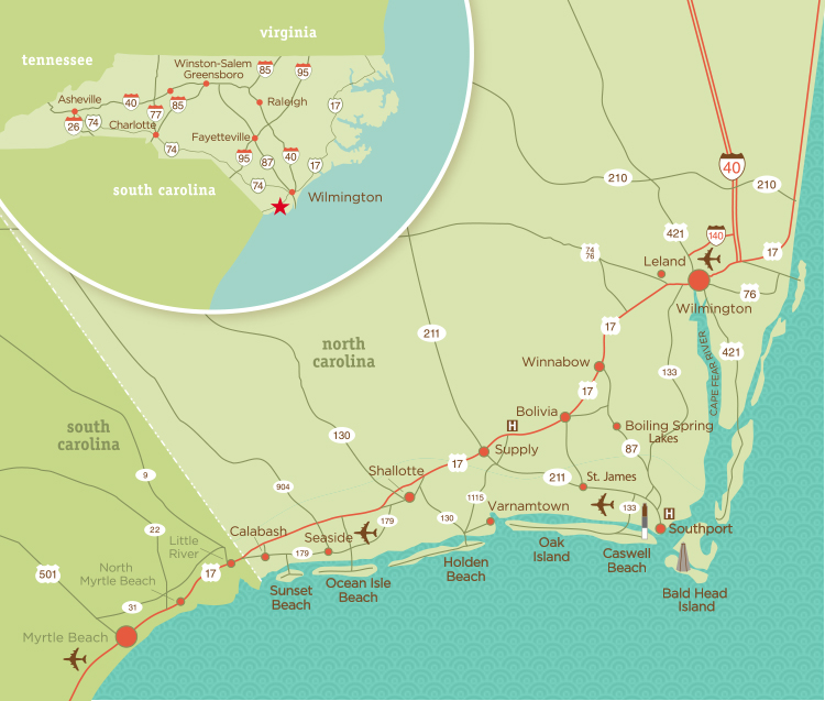Area Map Coastal NC Attractions, Events, Hotels, NC Beaches